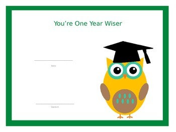 End of the Year You're One Year Wiser Primary Graduation Certificates (FREE) PDF