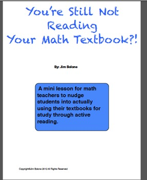 You're Still Not Reading Your Math Textbook?!