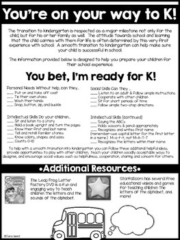 You're on Your Way to K!  {a freebie parent flier}