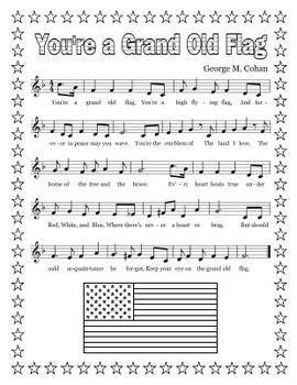 """""""You're a Grand Old Flag"""" Printable Song Sheet"""