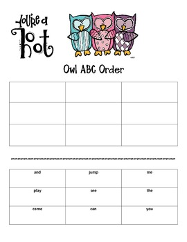 You're a Hoot! Owl ABC Order Activity FREEBIE