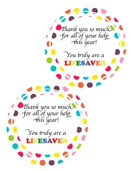 You're a LIFESAVER {Parent Volunteer Gift Tags}