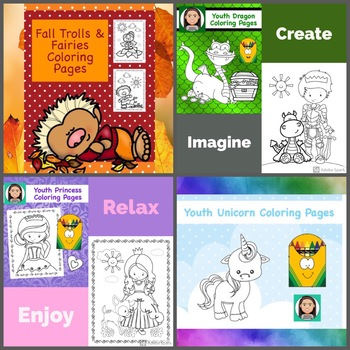 Youth Coloring Pages: Fantasy Bundle