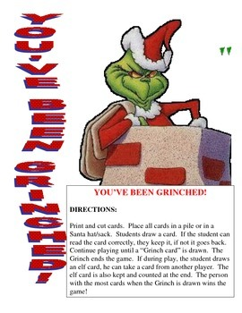 You've Been Grinched!!  Christmas CVC Game