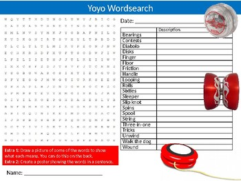 Yoyo Wordsearch Puzzle Sheet Keywords Physical Education Sports