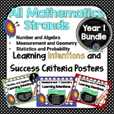 Yr 1 All Mathematic Strands Learning INTENTIONS & Success Criteria BUNDLED!