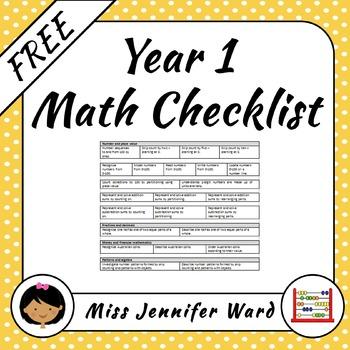 Yr 1 Mathematics Checklist FREE