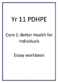 Yr 11 PDHPE Better Health for Individuals writing workbook