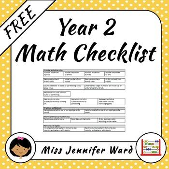 Yr 2 Mathematics checklist FREE