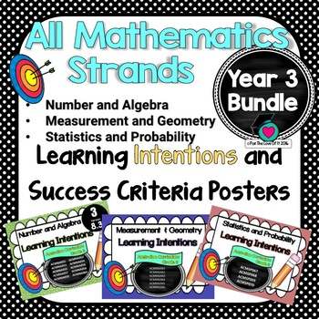 Yr 3 Maths Learning INTENTIONS & Success Criteria Posters BUNDLED!