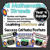 Yr 4 All Mathematic Strands Learning INTENTIONS & Success Criteria BUNDLED!
