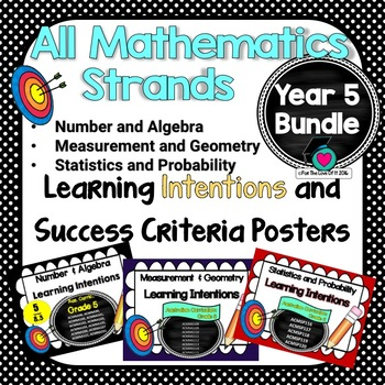 Yr 5 All Mathematic Strands Learning INTENTIONS & Success Criteria BUNDLED!
