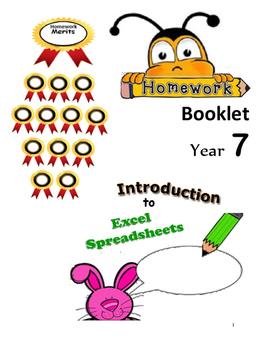 FREE-Yr 7  Intro to Spreadsheets Homework Book Grade 7,8,9 Year 7,8,9