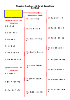 Yr 8 Order of Operations - Negative Numbers