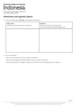 Yr 9 Liveability - Megacities and Liveability in Indonesia worksheet