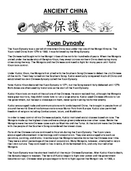 Yuan Dynasty in ancient China Article and Assignment