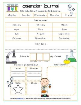 Yucky Experiments/Science Calendar/Circle Time Journal Sheet