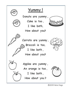 Yummy! A Poem to Practice Reading Early Sight Words