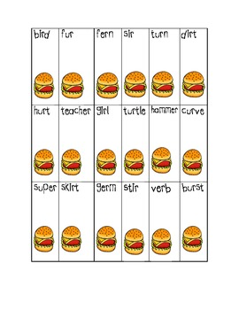 Yummy Burger and Fries! Fun with Bossy R (er, ir, and ur)