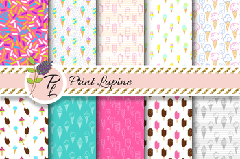 Yummy Ice Cream Seamless Pattern Set. Digital paper pack.