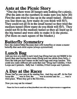 Yummy Math Story Mats