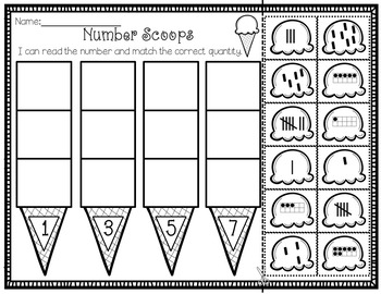 Yummy Number Treats - Counting and Cardinality Worksheets