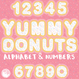 Yummy Sprinkle Donuts alphabet and number clipart - CL1326