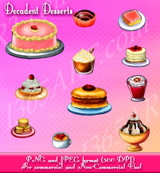 Yummy Treats and Desserts Clipart Set Cakes, Cookies & Ice Cream Digital