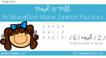 FIND N' FILL: /S/ and /Z/ Initial Position Word Search Puzzles