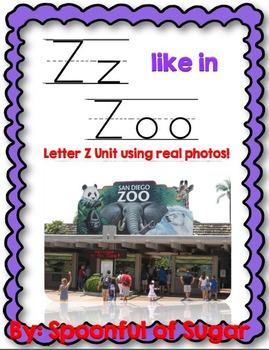 Z Like In Zoo (Letter Z Unit Using Real Photos)