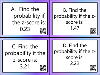 Z Score & Probability Task Cards with QR Codes