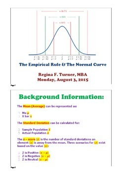 Z-Scores, Standard Deviation, Empirical Rule: PDF; VA SOLs A.9 and AII.11