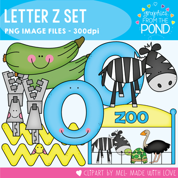 Z Set - Clipart for Teaching Initial Single Sounds