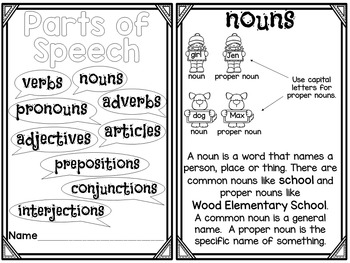 Parts of Speech Printable Reader with Comprehension