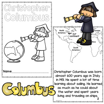 Columbus Day Christopher Columbus Differentiated Printable Readers