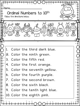 Halloween Math Ordinal Numbers Monster Themed Halloween Activities