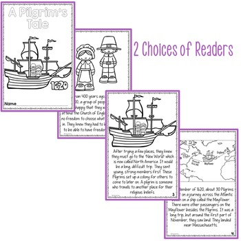 Thanksgiving Activities Pilgrim's Tale Differentiated Printable Readers