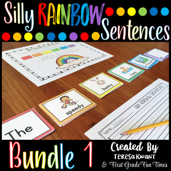 Back to School Writing Silly Sentences | Silly Rainbow Sentences