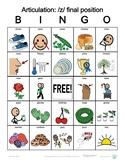 Z final postion Articulation Bingo with SymbolStix