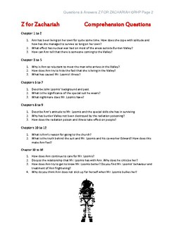 Z for Zachariah Comprehension Questions & Answers