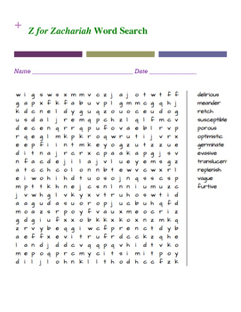 Z for Zachariah Word Search