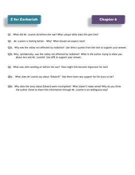 Z for Zachariah novel study package
