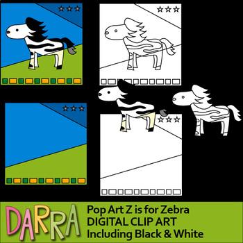 Z is for Zebra - interactive pop art alphabet clip art