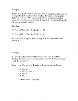 Z scores review notes and homework assignment practice