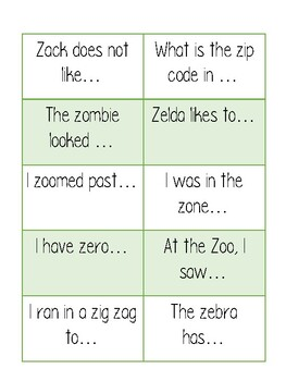 Z starter phrases speech therapy
