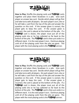 ZABINGA Game Telling Time to the Hour, Half Hour & Quarter Hour Level 3