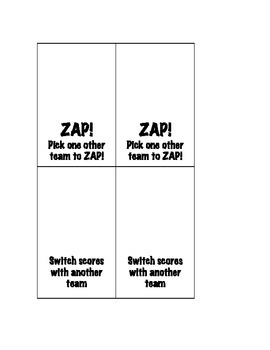 ZAP Cards for Review Game