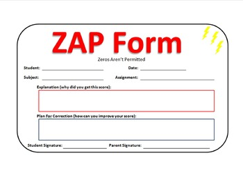 ZAP Form   Zeros Aren't Permitted   Homework Guide