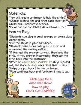 Don't Get ZAPPED Math Game Bundle - All Games