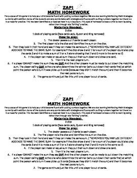 ZAP! Math Game Printable Send Home Directions